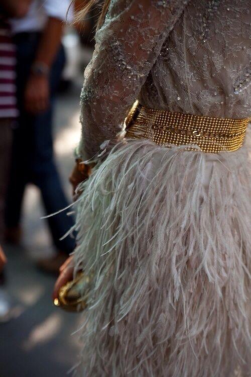 Vestido com plumas foto ilustrativa