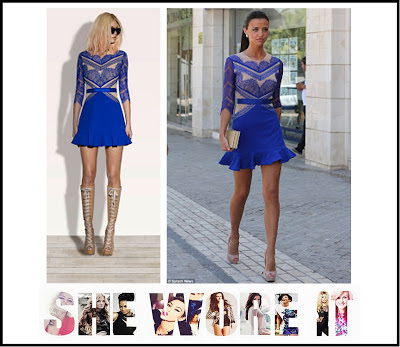 3/4 Sleeve, Blue, Bright, Contrast, Dress, Eyelash Lace, Floral Pattern, Hem Detail, Lace, Lucy Mecklenburgh, Mesh, Mini Dress, Nude, Sheer, The Only Way Is Essex, Three Floor, TOWIE, Waist Belt,