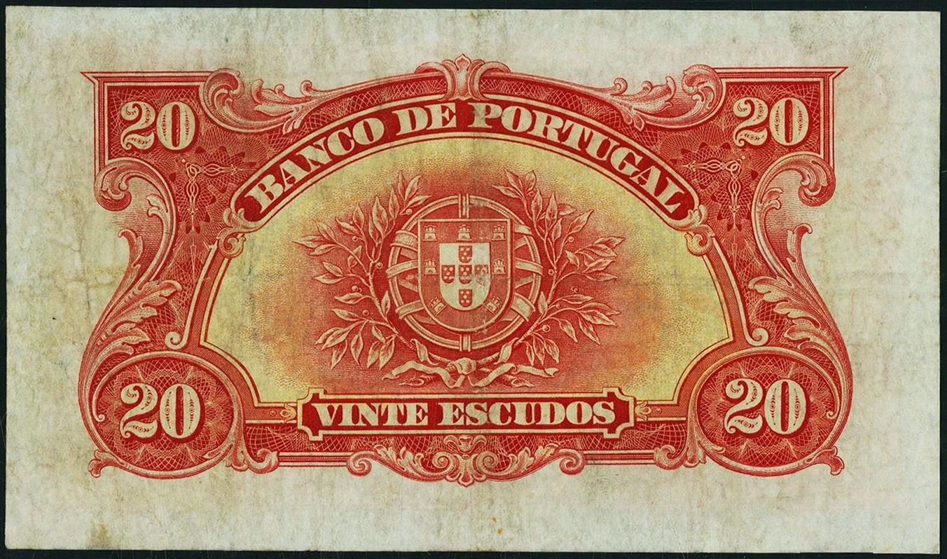 Portuguese paper money 20 Escudos banknote 1925