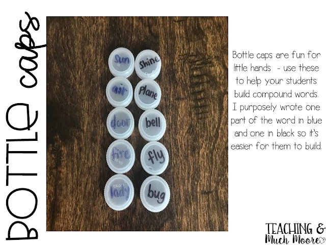 center idea to use with word work or compound words with bottle caps