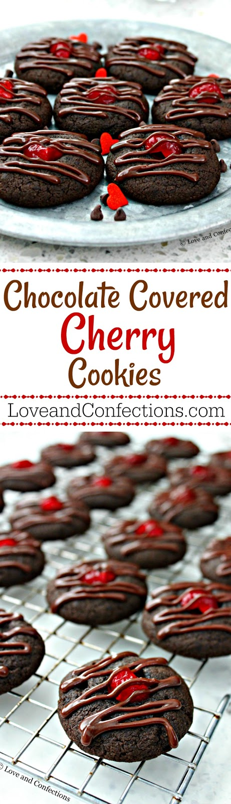 Chocolate Covered Cherry Cookies from LoveandConfections.com