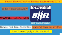 Bharat Heavy Electrical Limited Recruitment 2018– 271 Trade Apprentice