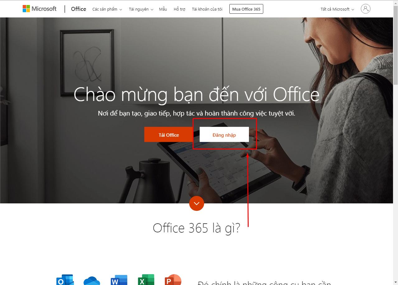 Giao diện chính của Office.com