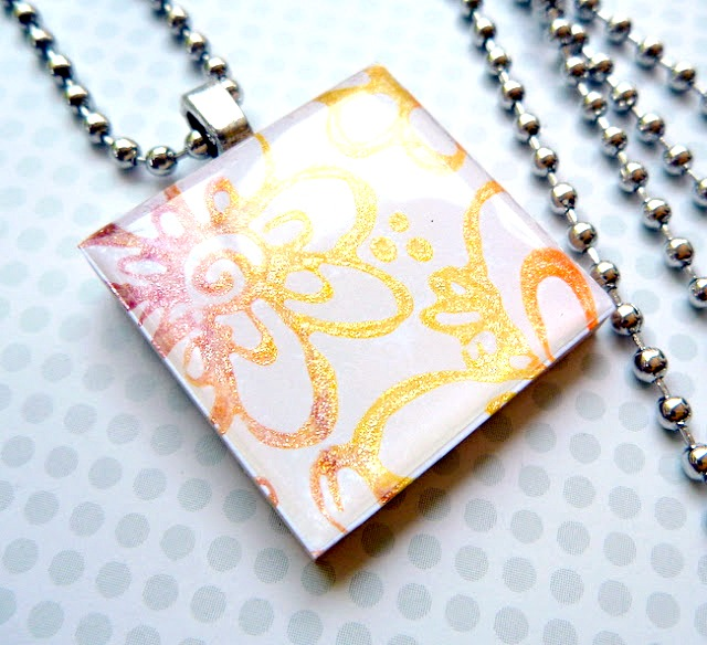 Stamped Flower Friendship Necklace by Dana Tatar