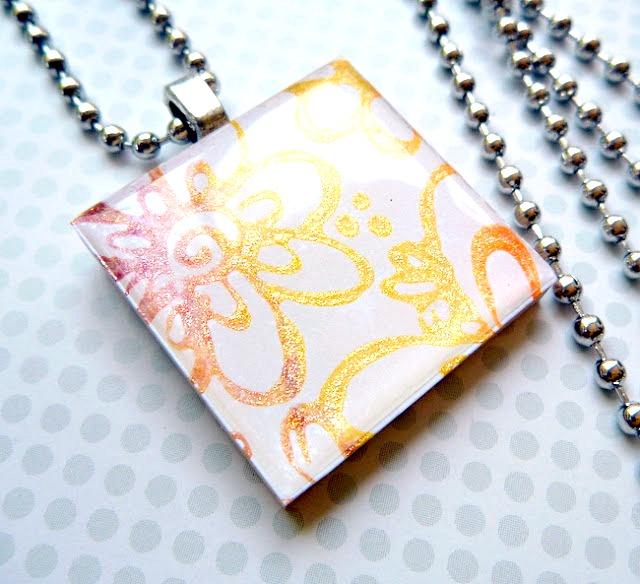 Stamped Flower Friendship Necklace by Dana Tatar