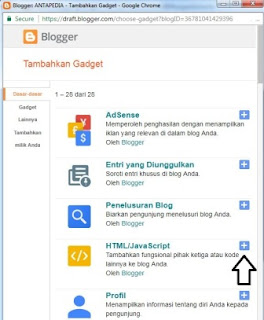 cara menambahkan kode Adsense di Blogger