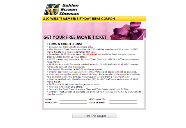 Saya Dah Dapat Dua FREE Golden Screen Cinemas(GSC) Tickets.  Anda Bila Lagi..