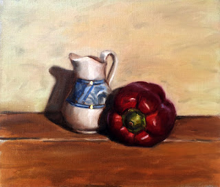Oil painting of a blue and white porcelain jug beside a red pepper.