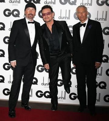 Bono, Adam y Edge en los premios GQ 2011