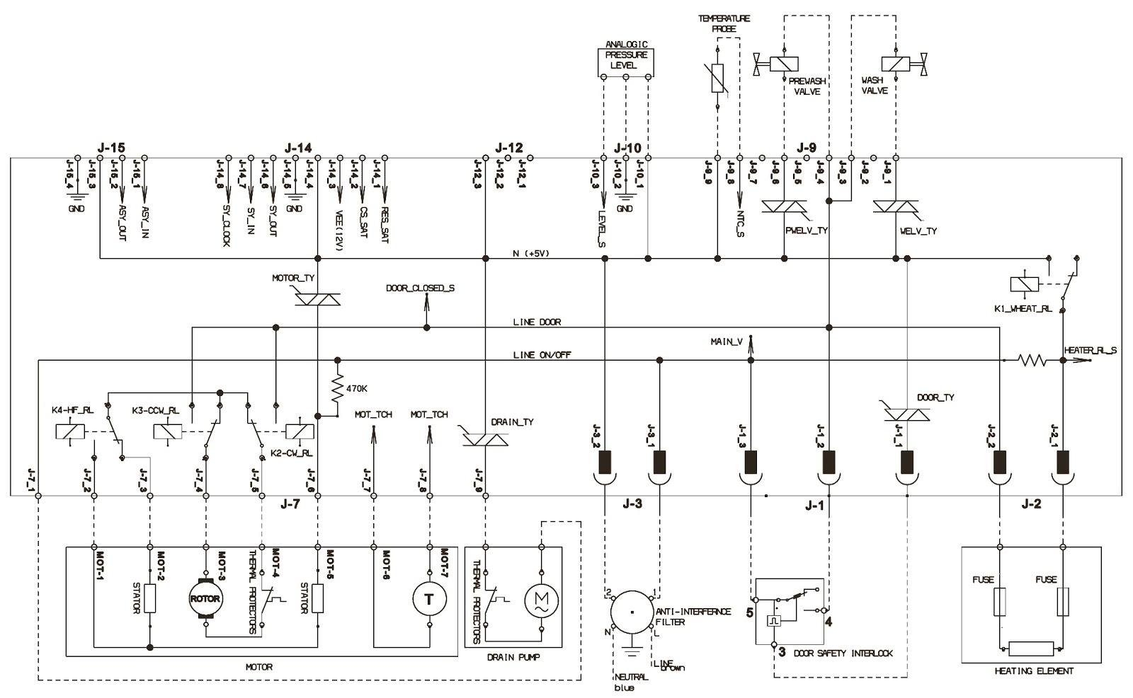 ELECTROLUX EWM1100 – TOP LOADER WASHING MACHNINE – WIRING DIAGRAM