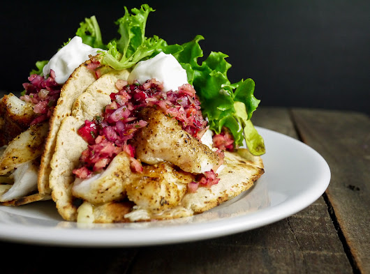 Grilled Grouper Tacos with Cranberry Salsa