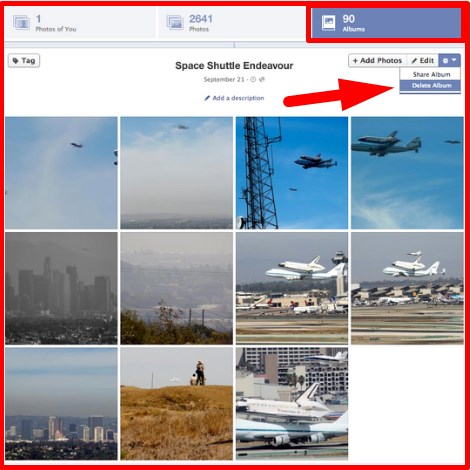 how to delete all photos on facebook at once