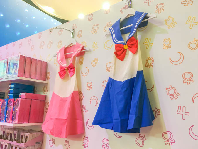 Cosplay dresses of Usagi and Chibiusa for sale at the Sailor Moon booth at Japan Expo 2016