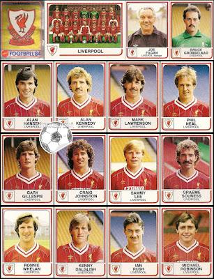 Panini Football 84 stickers england liverpool
