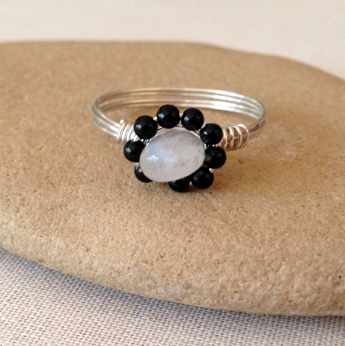 Flower shaped gemstone wire wrapped ring: Lisa Yang's Jewelry Blog