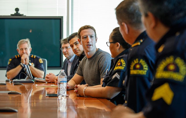 Mark Zuckerberg in meeting with officers from the Dallas Police Department,Texas Today