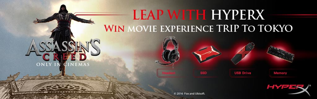Buy any HyperX products win an Assasins Creed Movie Trip at Tokyo