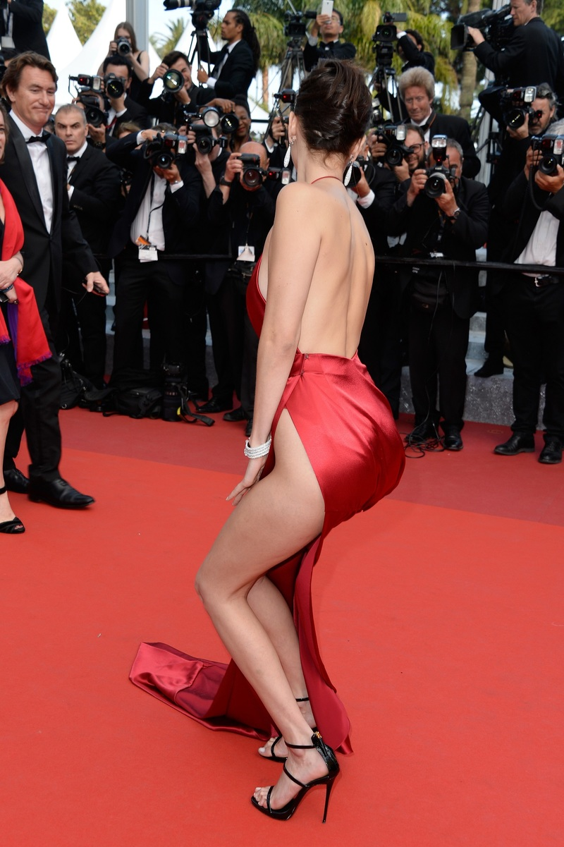 Bella Hadid might want to have a word with Vauthier - the same thing happened with the much talked-about red dress he put her in at Cannes last year.