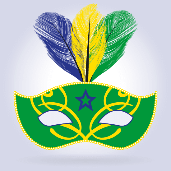 Máscara Carnaval colores de Brasil