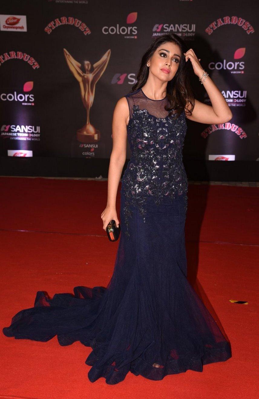 Shriya Saran In Blue Dress At Star Dust Awards