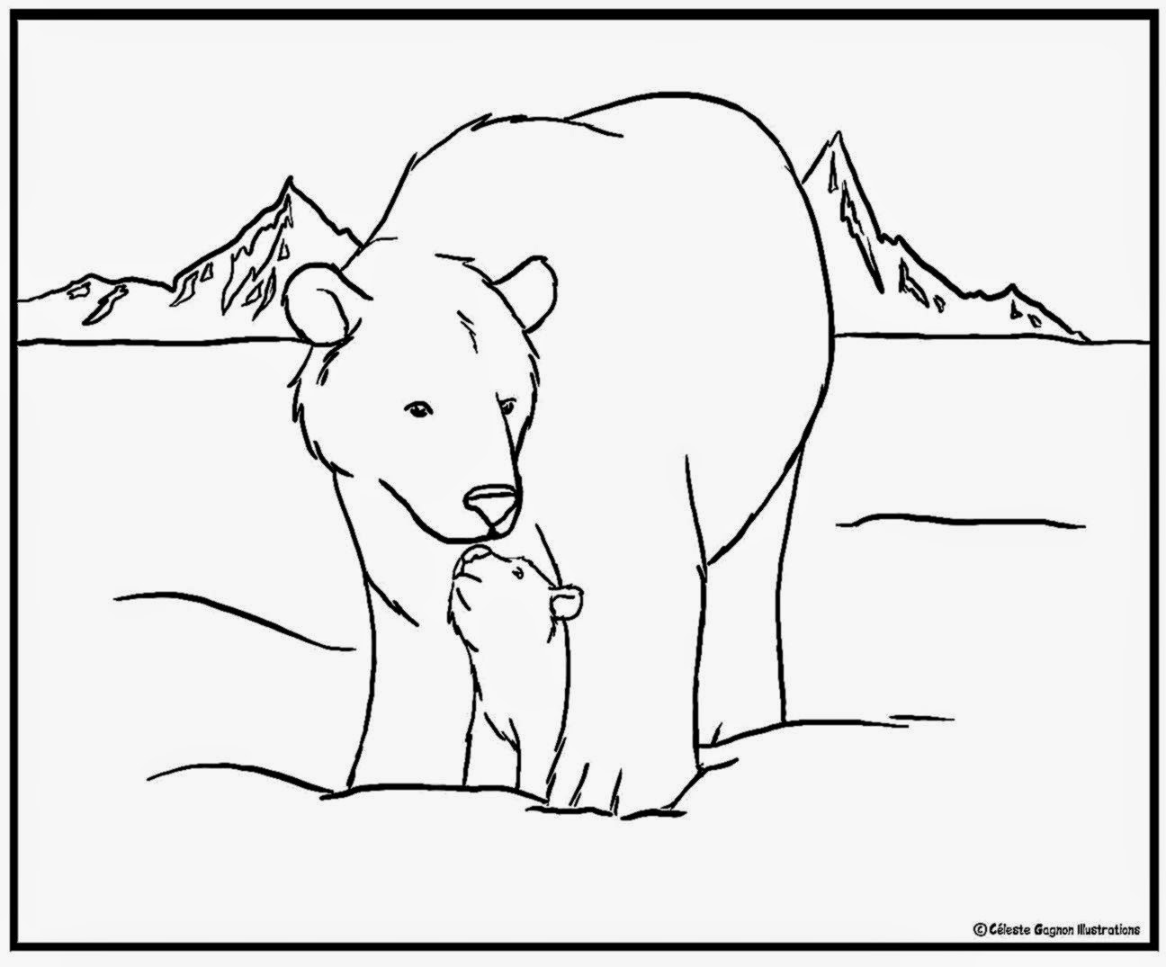 Polar Bear Coloring Sheet