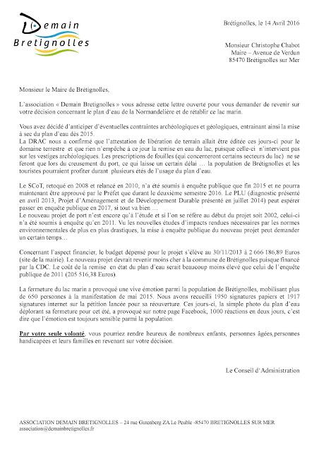 Consultez la lettre ouverte pour la réouverture du plan d'eau de la Normandelière