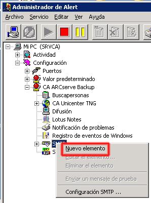 Nuevo Elemento SMTP, ARCserve