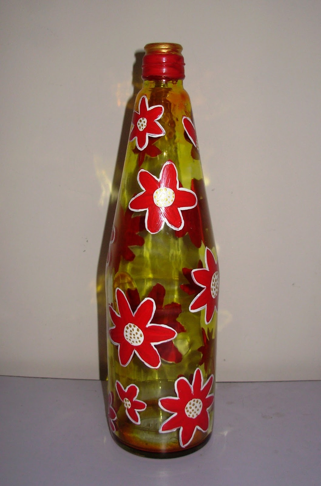 Craft decor glass bottle painting for Can acrylic paint be used on glass bottles
