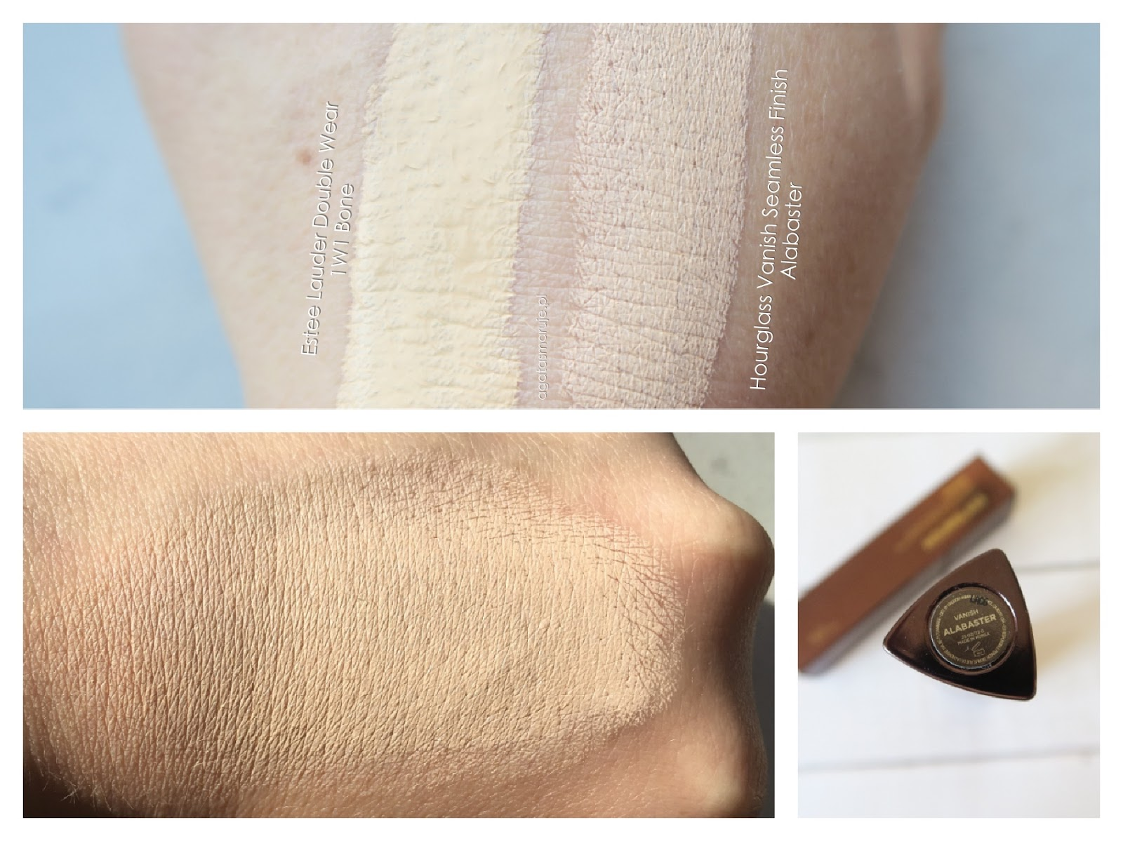 Hourglass Vanish Seamless Finish Foundation Stick Alabaster swatches review