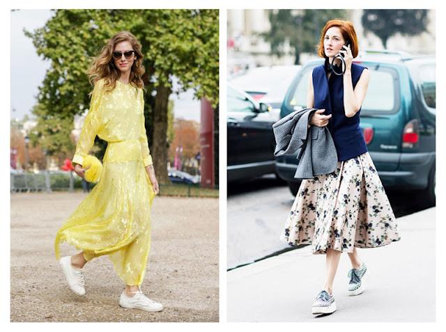 Платье и юбка с кроссовками