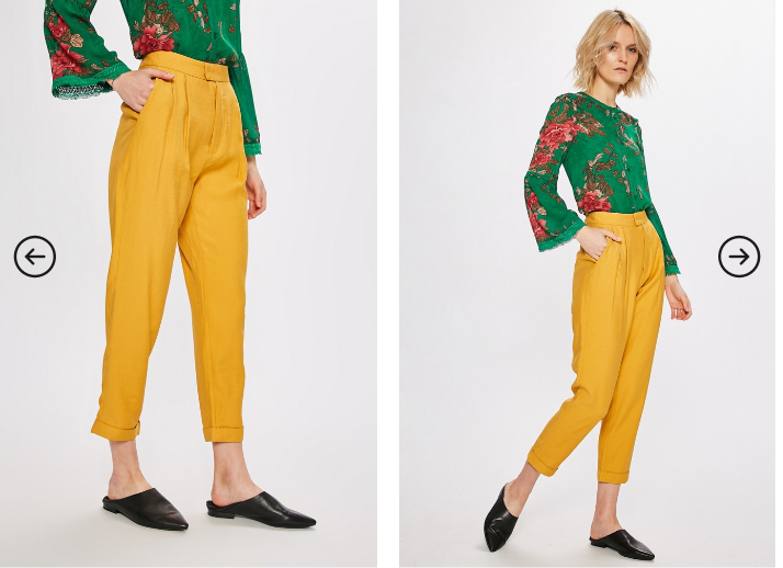 Answear - Pantaloni galbeni casual moderni cu talia inalta