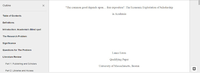 Title page of the Qualifying Paper in Google Docs