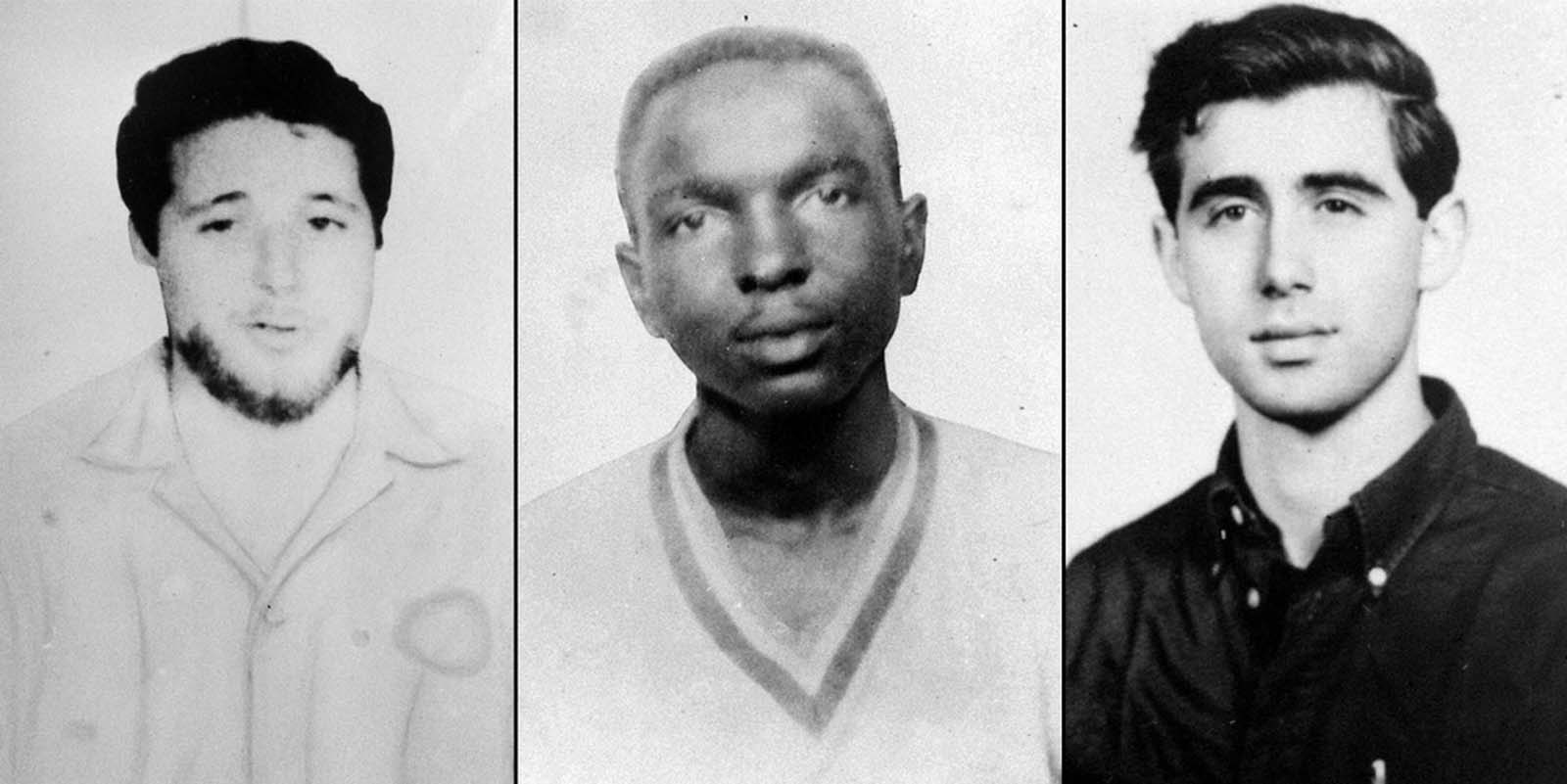 On June 29, 1964, the FBI began distributing these pictures of three missing civil rights workers, from left, Michael Schwerner, 24, of New York, James Chaney, 21, from Mississippi, and Andrew Goodman, 20, of New York, who disappeared near Philadelphia, Mississippi, on June 21, 1964. The three civil rights workers, part of the