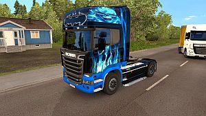 Blue Fire skin for Scania SCS Streamline