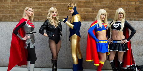 super babes and a lucky golden dude