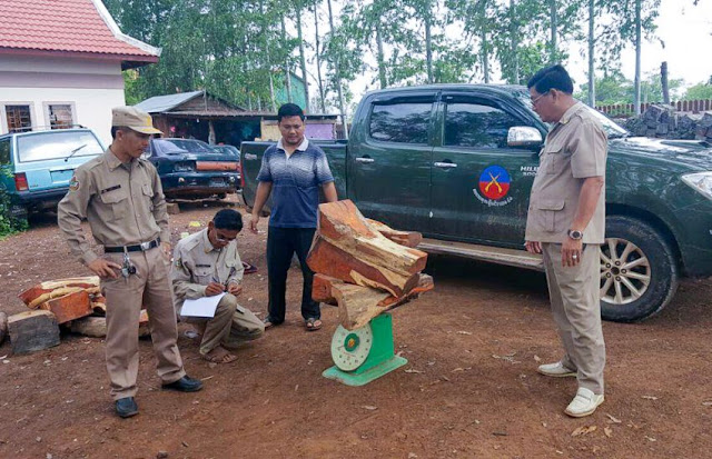 Authorities weigh illegal wood in front of a seized RCAF vehicle in Oddar Meanchey's Anlong Veng district earlier this week. Photo supplied