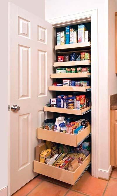 armario con cajones extrables para mantener el orden en la cocina