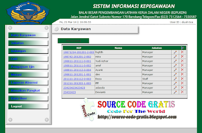 Free Download PHP Source Code Aplikasi Kepegawaian B2LKPDN