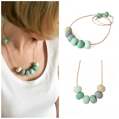 Soft Green Long Statement Necklace by Lottie Of London