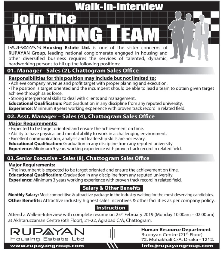 Rupayan Housing Estate Ltd. Job Circular 2019