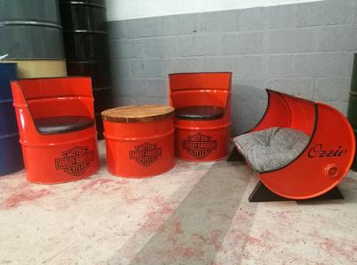 meja kursi tamu dari drum