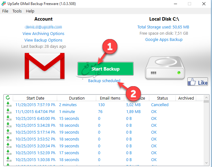 Gmail start backup