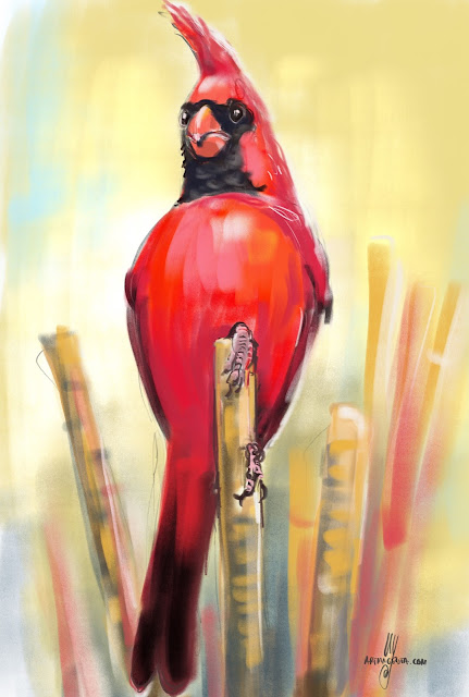 Northern Cardinal bird painting by Artmagenta