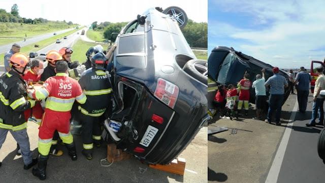 Rodovia SP 340: motorista se perde, bate em cabeceira de ponte e capota