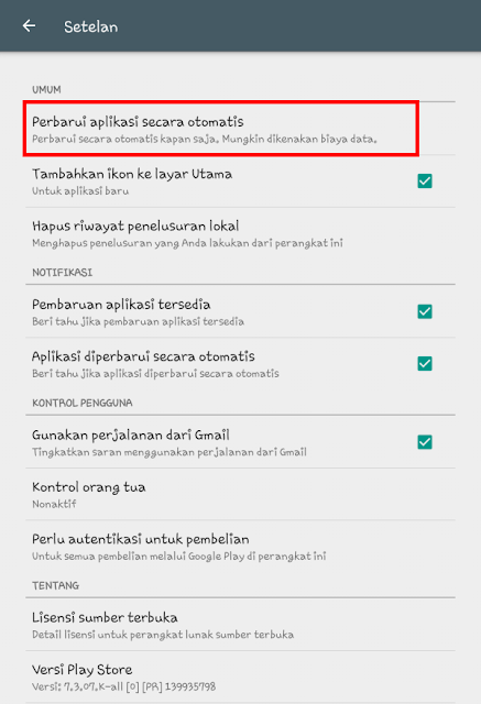 Auto Update Aplikasi di Google Play Store