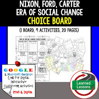 American History Digital Learning, American History Google, American History Choice Boards, Nixon, Ford, Carter