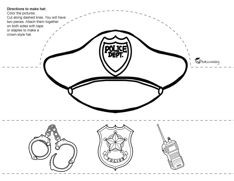 Community helpers printable paper hats totschooling for Firefighter hat template preschool