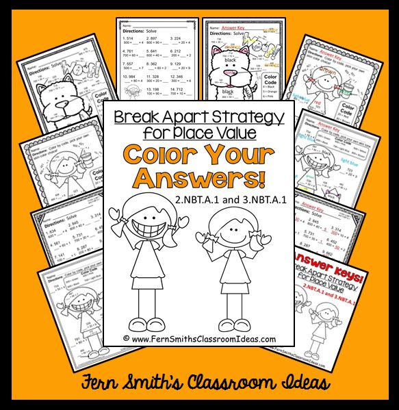 Fern Smith's Classroom ideas Break Apart Strategy for Place Value - Color Your Answers Printables 3.NBT.A.1