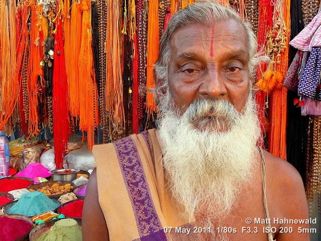 Facing the World, © Matt Hahnewald, street portrait, people, South India, headshot, old Hindu man, white beard, Dravidian people, Mamallapuram, Tamil Nadu, India