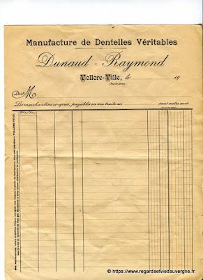 Vieille facture : manufacture de dentelles véritables